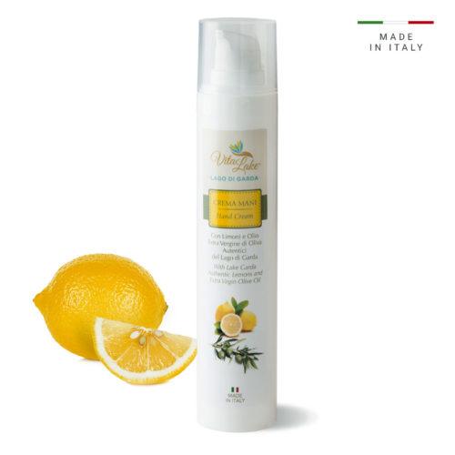 Crema mani Vitalake con olio evo e limone: nutre, idrata, attenua le macchie scure. Pratico FLACONE AIRLESS