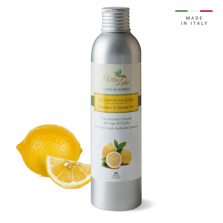 Shampoo shower Vitalake. The fresh, sparkling notes of lemon leaves a pleasant feeling of well-being and energy. Vitalake from Garda Lake.