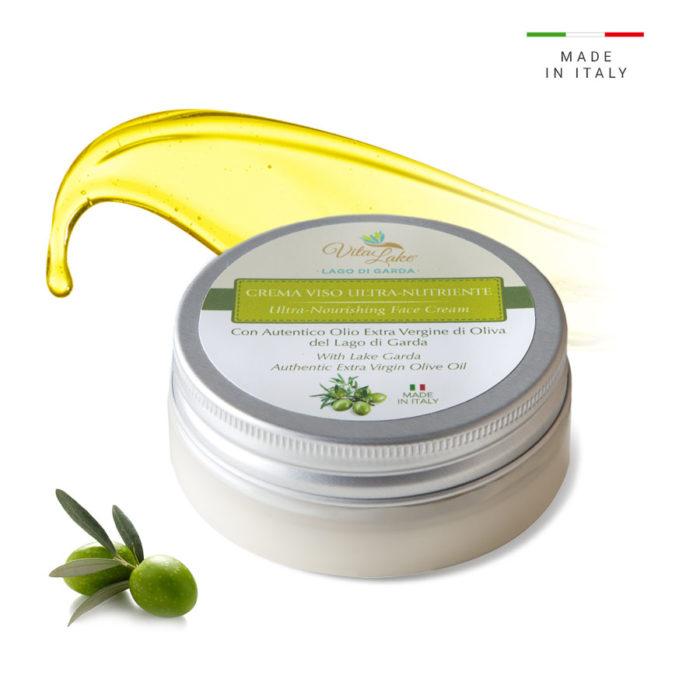 Crema ultra nutriente viso all'Olio d'oliva evo. Indicata per pelli secche, disidratate e sensibili, dona immediata idratazione e nutrimento duraturo.