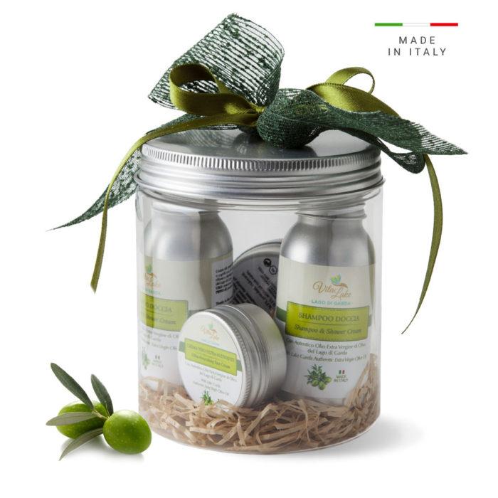 Regala un Gift cofanetto VitaLake, contenente 4 pratici formato viaggio della linea Olio d'oliva evo del Garda